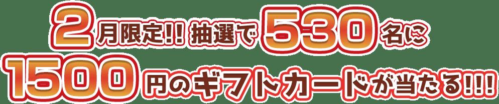 2月限定!!抽選で530名に1500円のギフトカードが当たる!!!